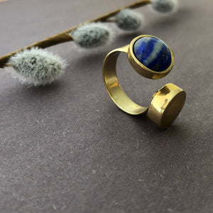 Persian Gift-Handmade Brass and Lazuli Ring:Persian Jewelry-Afra Art Gallery