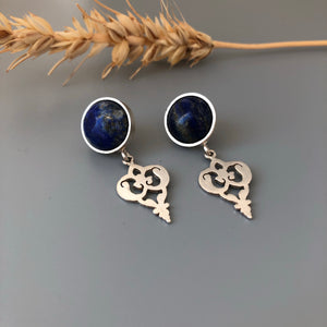 Persian Earrings-Persian Handmade Silver Earrings With Lazuli:Persian Jewelry-Afra Art Gallery