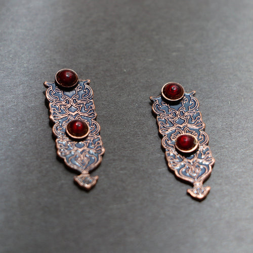 Persian Earrings-Persian Enamel Earrings with Geometric Motifs-: Persian Jewelry-Afra Art Gallery