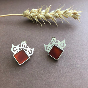 Persian Earrings-Handmade Royal Silver Earrings with Agate:Persian Jewelry