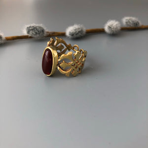 Nowruz Gift-Persian Ring with Eslimi Pattern and Gemstone:Persian Jewelry-Afra Art Gallery