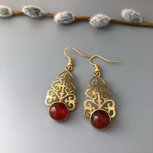 Persian Earrings-Persian Earrings with Geometric Pattern and Brown Agate:Persian Jewelry-Afra Art Gallery