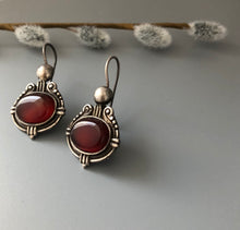 Load image into Gallery viewer, Persian Earrings-Handmade Silver Earrings With Brown Agate:Persian Jewelry-Afra Art Gallery