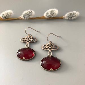 Persian Earrings-Handmade Dangle Silver Earrings with Red Agate:Persian Jewelry