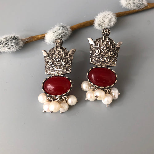 Persian earrings-Handmade Silver Crown Earrings With Agate: Persian jewelry-Afra art gallery