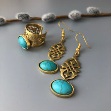 Load image into Gallery viewer, Nowruz Gift-Brass Dangle Earrings and Ring with Oval-Shaped Turquoise:Persian Jewelry-Afra Art Gallery