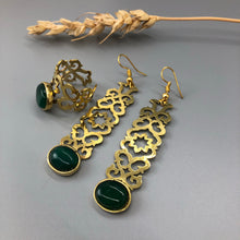Load image into Gallery viewer, Persian Earrings-Brass Earrings and Ring with Geometric Pattern and Green Agate:Persian Jewelry-Afra Art Gallery