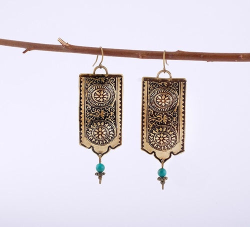 Persian earrings-Brass Drop Earrings with Engraving and Turqoise-Persian Jewelry