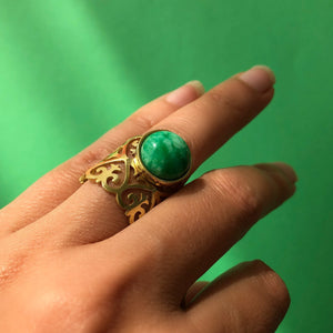 Handmade Persian Ring with Light Green Gemstone