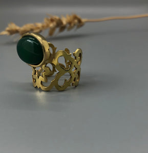 Persian Earrings-Brass Earrings and Ring with Geometric Pattern and Green Agate:Persian Jewelry-Afra Art Gallery
