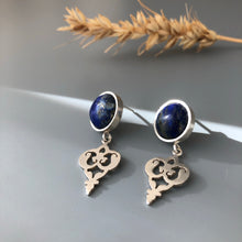 Load image into Gallery viewer, Persian Earrings-Persian Handmade Silver Earrings With Lazuli:Persian Jewelry-Afra Art Gallery