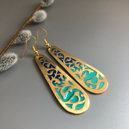 Dangle Earrings in Persian Blue with flower and Bird Motifs