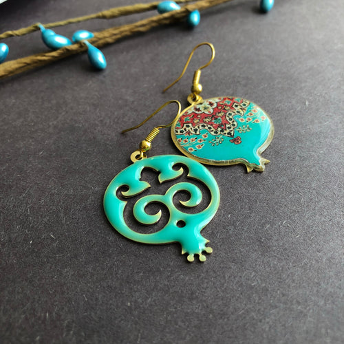 Handmade Brass Pomegranate-shaped Earring with Persian Pattern