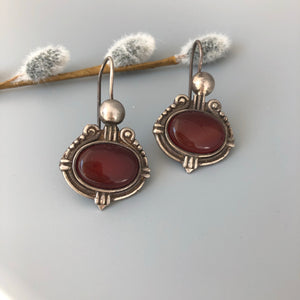 Persian Earrings-Handmade Silver Earrings With Brown Agate:Persian Jewelry-Afra Art Gallery