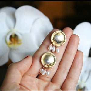 Persian earrings-Stud Gold Plate Silver Earrings in Minimal Design:Persian jewelry