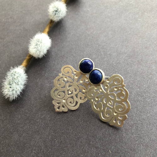 Persian Earrings-Handmade Silver Earrings with Persian Eslimi Pattern and lazuli-: Persian jewelry-Afra Art Gallery
