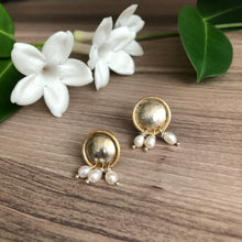 Load image into Gallery viewer, Persian Earrings-Stud Gold Plate Silver Earrings in Minimal Design:Persian Jewelry-Afra Art Gallery