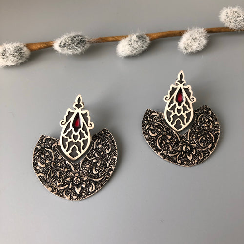 Persian Earrings-Handmade, Flowers Engraved Silver and Wine Red Enamel Dangle Earrings-: Persian Jewelry-Afra Art Gallery