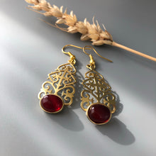 Load image into Gallery viewer, Persian Earrings-Persian Earrings with Geometric Pattern and Brown Agate:Persian Jewelry-Afra Art Gallery
