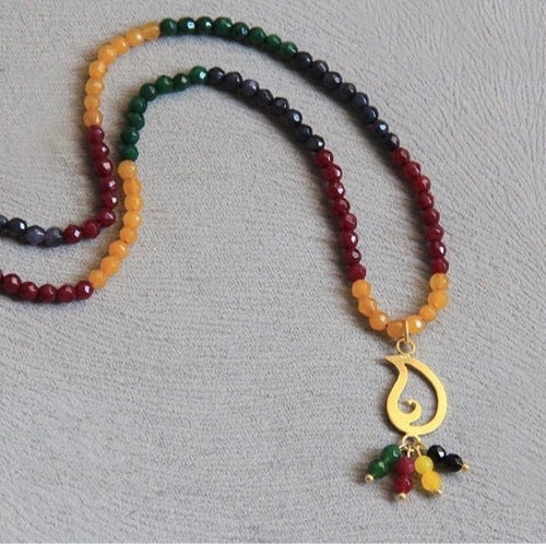 Persian Necklace-Handmade Silver Necklace with Colorful Gemstone:Persian Jewelry-Afra Art Gallery
