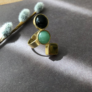 Persian Gift-Handmade Brass and Gemstone Ring:Persian Jewelry-Afra Art Gallery