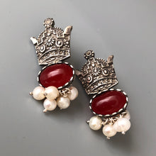 Load image into Gallery viewer, Persian earrings-Handmade Silver Crown Earrings With Agate: Persian jewelry-Afra art gallery