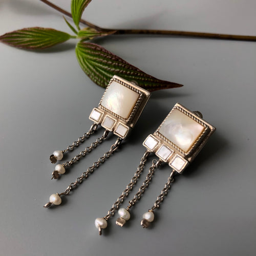 Persian Earrings-Handmade Silver Drop Earrings with Gemstone and Pearl-: Persian Jewelry-Afra Art Gallery