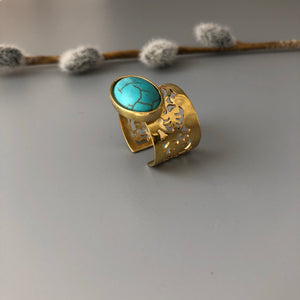 Nowruz Gift-Brass Dangle Earrings and Ring with Oval-Shaped Turquoise:Persian Jewelry-Afra Art Gallery