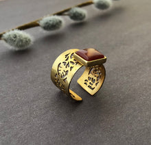 Load image into Gallery viewer, Persian Gift-Iranian Aqeeq Ring:Persian Jewelry-Afra Art Gallery
