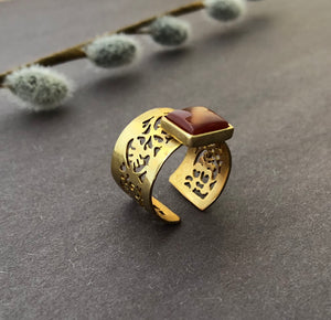 Persian Gift-Iranian Aqeeq Ring:Persian Jewelry-Afra Art Gallery