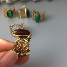 Load image into Gallery viewer, Nowruz Gift-Persian Ring with Eslimi Pattern and Gemstone:Persian Jewelry-Afra Art Gallery