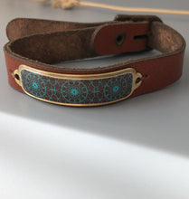Load image into Gallery viewer, Bracelet with Persian Motif and Natural Leather