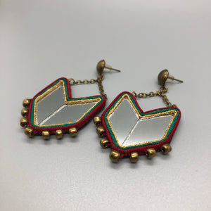 Persian Earrings-Persian Mirror Mosaic Earrings with Silk Frame:Persian Jewelry-Afra Art Gallery