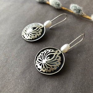 Persian Earrings-Handmade Silver Earrings with Shah Abbasi Flower:Persian Jewelry-Afra Art Gallery