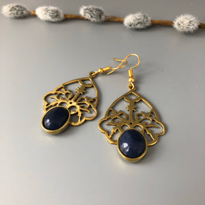 Handmade Earrings with Persian Rug Pattern and Gemstone