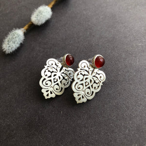 Persian Earrings-Handmade Silver Earrings with Persian Eslimi Pattern and Agate-: Persian Jewelry-Afra Art Gallery