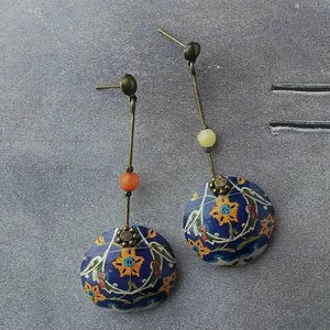 Persian Earrings-Dangel Earrings with Persian Tile Pattern:Persian Jewelry-Afra Art Gallery