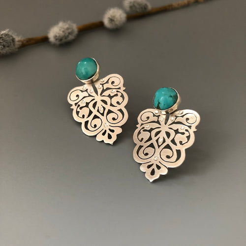 Persian Earrings-Handmade Silver Earrings with Persian Eslimi Pattern and Turquoise:Persian Jewelry-Afra Art Gallery