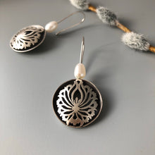 Load image into Gallery viewer, Persian Earrings-Handmade Silver Earrings with Shah Abbasi Flower:Persian Jewelry-Afra Art Gallery