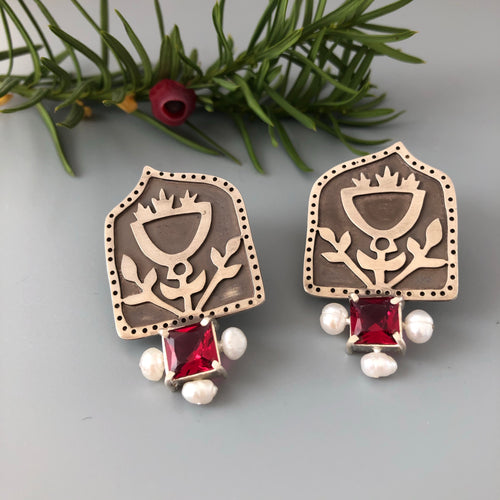 Persian Earrings-Handmade Silver Stud Earrings with Red Gemstones:Persian Jewelry-Afra Art Gallery