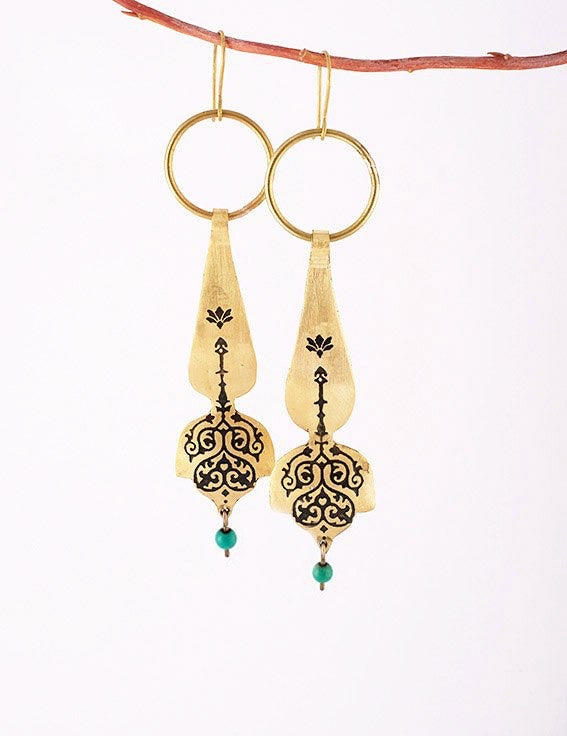 Persian earrings-Brass Drop Earrings with Engraving-Persian Jewelry