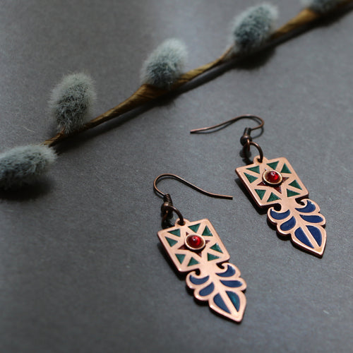 Persian Earrings-Earrings with Persian Minakari-: Persian Jewelry-Afra Art Gallery