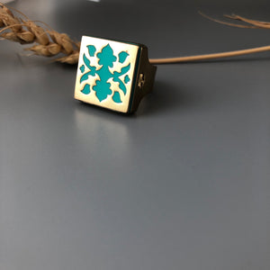Persian Brass Square Ring with Turquoise Blue Pattern