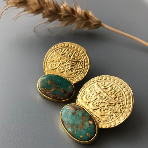 Handmade Silver Earrings With Natural Turquoise and Safavid Coin