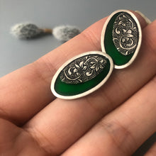 Load image into Gallery viewer, Persian Earrings-Persian Ghalamzni Stud Earrings with Green Enamel-: Persian Jewelry-Afra Art Gallery