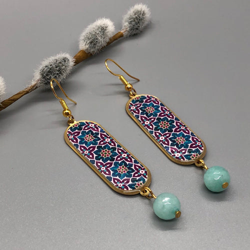 Persian Earrings-Handmade Persian Earrings with Colorful Kashi Pattern:Persian Jewelry-Afra Art Gallery