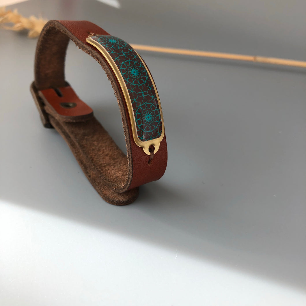 Bracelet with Persian Motif and Natural Leather