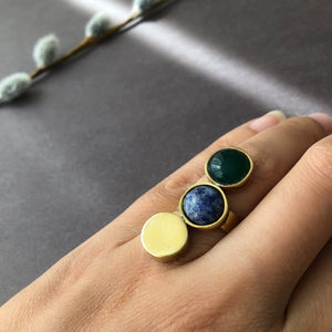 Handmade Brass and Gemstone Ring