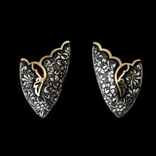 Load image into Gallery viewer, Persian Earrings-Handmade, Flower and Bird Engraved Silver Ear Cuff :Persian Jewelry-Afra Art Gallery