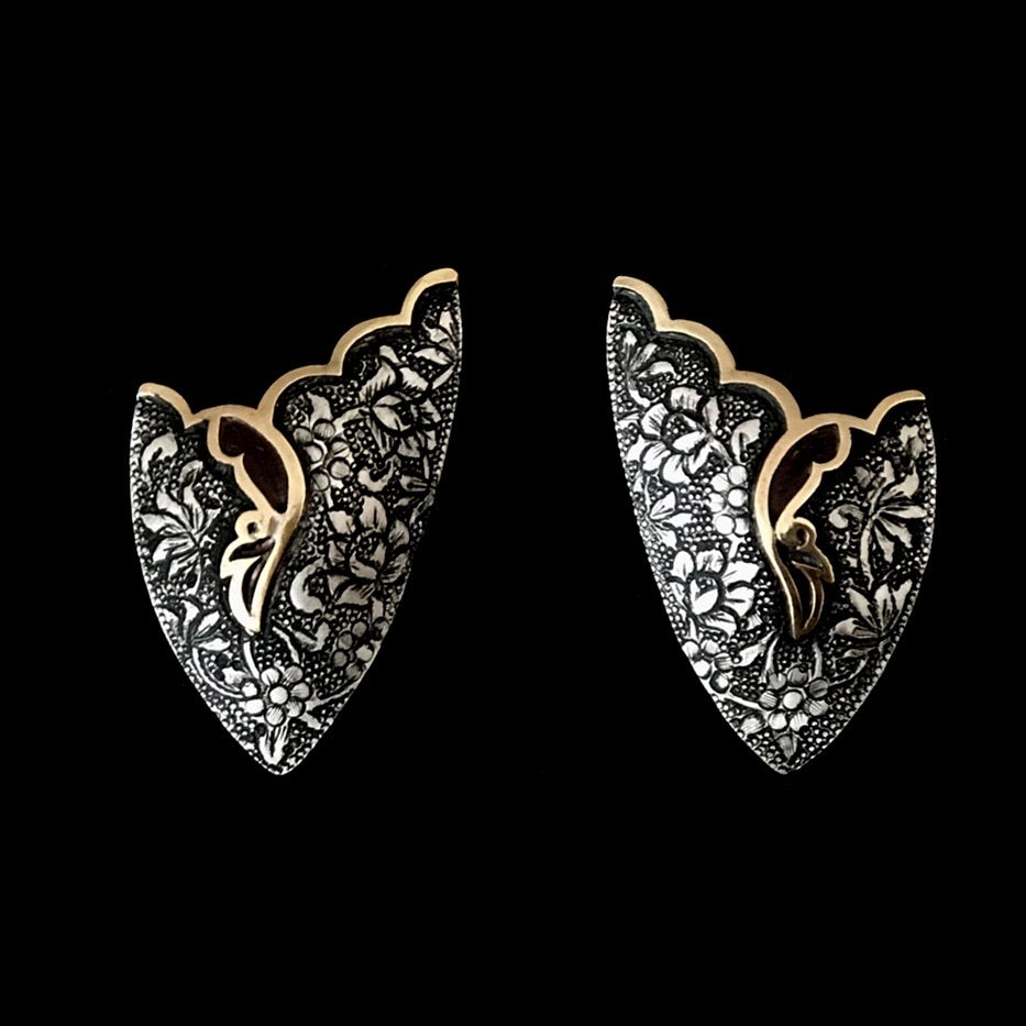 Persian Earrings-Handmade, Flower and Bird Engraved Silver Ear Cuff :Persian Jewelry-Afra Art Gallery